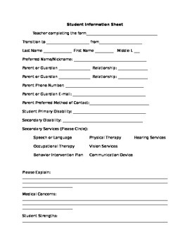 Special Education Student Information Sheet