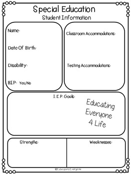 Special Education Student Information Data Sheet