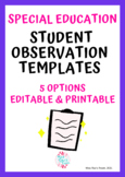Special Education Student Observation Template & Form