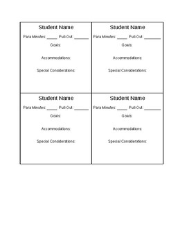 Special Education Student Placement Cards