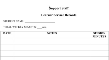 Special Education Support Staff Service Tracking Log