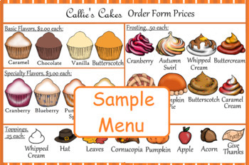 Special Education Task Box Cupcake Thanksgiving Assembly Project