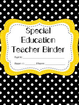 Special Education Teacher Binder - Black and Gold Dot
