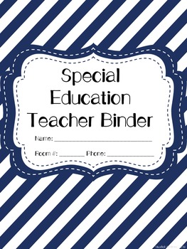 Special Education Teacher Binder - Blue and White Stripe