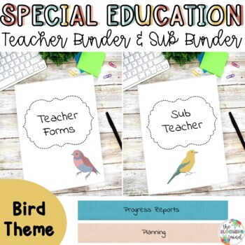 Special Education Teacher Binder Bundle {Watercolor Bird Cover and Spines}