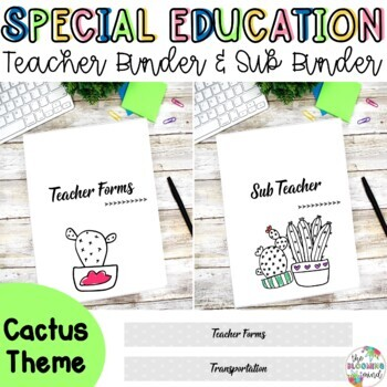 Special Education Teacher Binder Bundle {Cactus Cover and Spines}