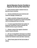 Special Education Teacher Checklist to Organize the Start