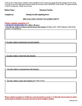 Special Education Teacher Input Form-Editable!