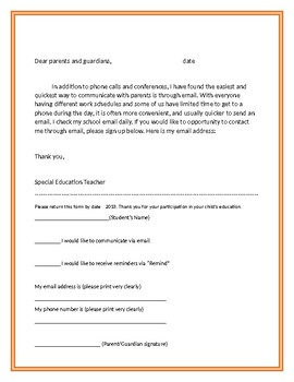 Special Education Teacher Welcome Letter