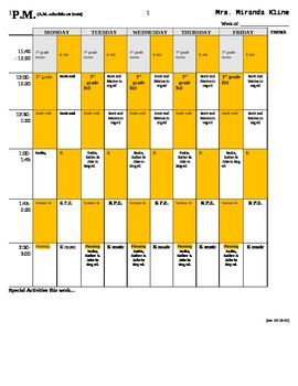 Education Teacher schedule template with sample information