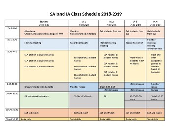 Special Education Teacher schedule with 4 Paraprofessionals (editable!)