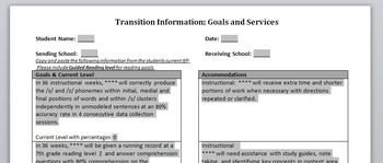 Special Education Transition Form