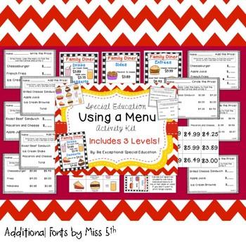 "Special Education ""Using a Menu"" Diner Restaurant Activity Set"