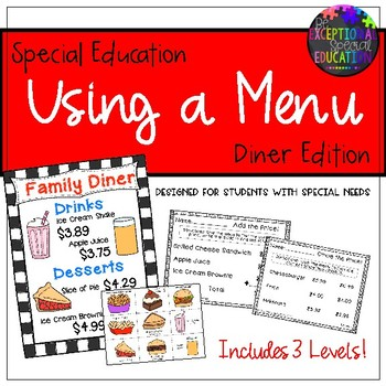 "Special Education ""Using a Menu"" Diner Restaurant Activity Set"