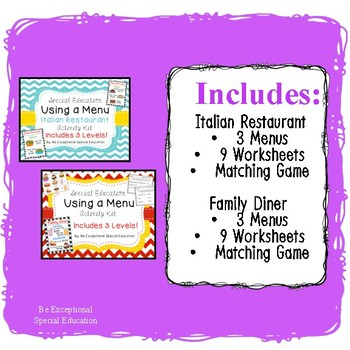 "#warmupwithsped3 Special Education ""Using a Menu"" Bundle"