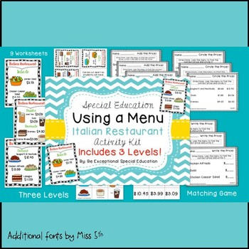"""""""Using a Menu"""" Restaurant Activity for Special Education"""
