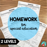 Special Education Weekly Homework