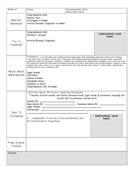 Special Education Weekly Lesson Plan Template Comprehension Focus - Reading group lesson plan template