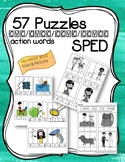 Special Education Word Puzzles for Centers Action Words CC
