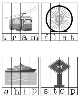 Special Education Word Puzzles for Centers CVC Transportation Cars CCVC CVCC