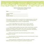 Special Education Working File Checklist