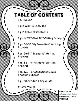 Special Education Writing Prompts and Assessment (3rd-8th) Version 2