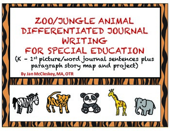Special Education Writing:  Zoo Animal Themed Sentences and Story Map/Project