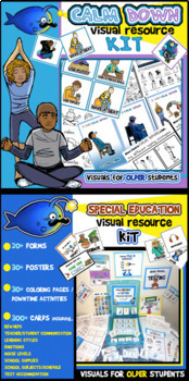 Special Education and Calm Down Visual Resource Kits BUNDLE! For Older Kids!