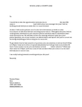 Special Education case manager introduction letter and student survey
