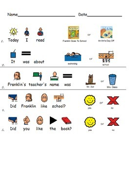 Special Education comprehension - Franklin Goes To School