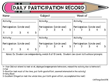 Special Education- Weekly Participation Record