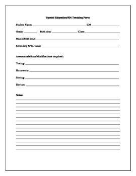 Special Education/504 Tracking Form