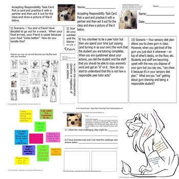 Special Education/Autism Rescue Dogs'  Accepting Responsibility Worksheets