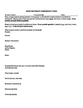 Special Education/Autism Student Reinforcement Assessment Form & Data Tracking