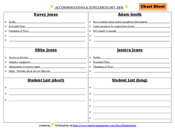 Accommodations & Supplementary Aids cheat sheets & lists