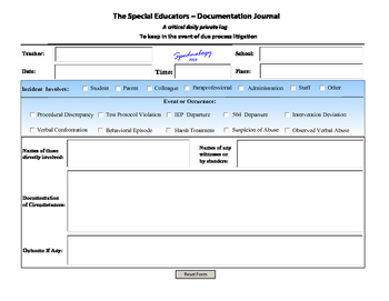 Special Educator's Documentation Journal~ use on your iPad* PC, MAC or print!