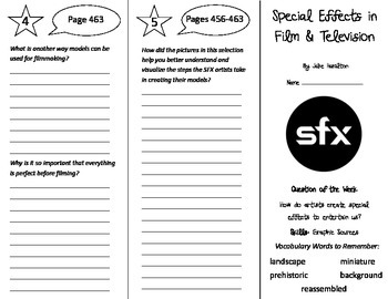 Special Effects in Film & Television Trifold - Reading St 5th Gr Unit 3 Week 5