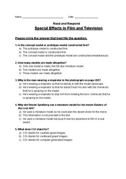 Special Effects in Film and Television - Read and Respond Reading Street 5.1