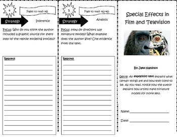 Special Effects in Film and Television Trifold Reading Street Unit 3 Week 5