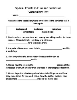 Special Effects in Film and Television Vocabulary Test and Vocabulary Dominoes