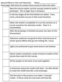 Special Effects in Films & Television-Supplemental Packet-Reading Street Grade 5