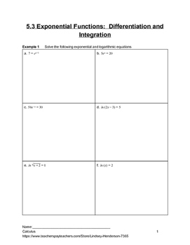 Special Functions Differentiation and Integration Lesson 3 of 8 (Exponential)