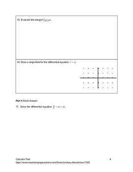Special Functions Differentiation and Integration Unit Test Version B