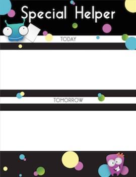 Special Helper Chart, Cards, and Calendar - Little Monster Theme