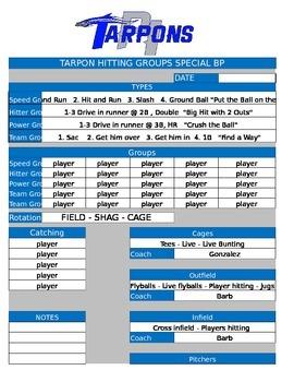 Special Hitting Groups BP Organizer
