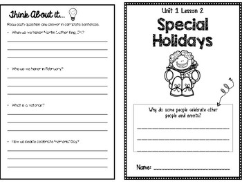 Unit 1.2: Special Holidays-McGraw Hill Community & Beyond Social Studies Booklet