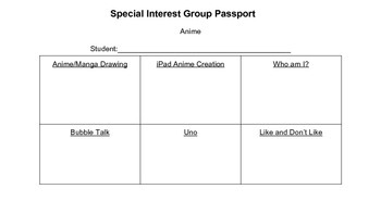 Special Interest Group Anime Task Cards