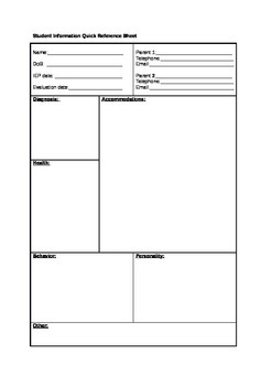 Special Learning Needs Student Summary Quick Reference Sheet