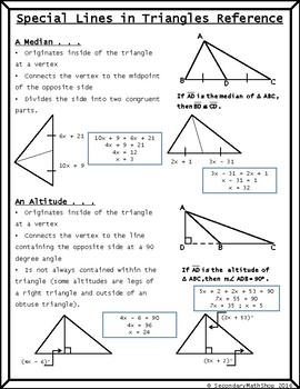 Special Lines In Triangles Short Review/Practice Freebie!