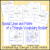 Special Lines of Triangle Vocabulary Booklet~Book~Graphic Organizer